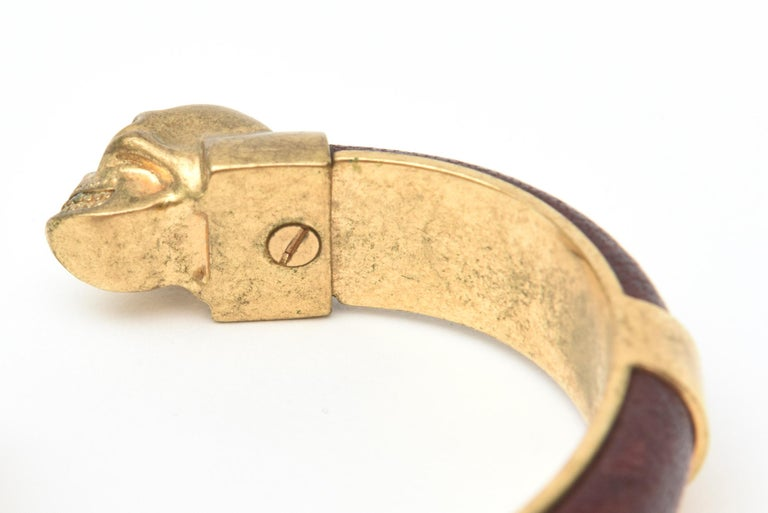 Alexander McQueen Gold Plated and Leather Skull Bracelet 1