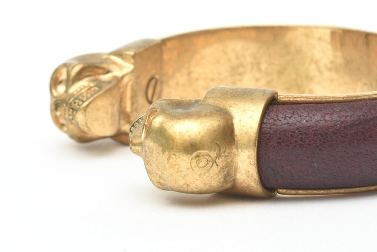Alexander McQueen Gold Plated and Leather Skull Bracelet 2
