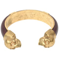 Alexander McQueen Gold Plated and Leather Skull Bracelet