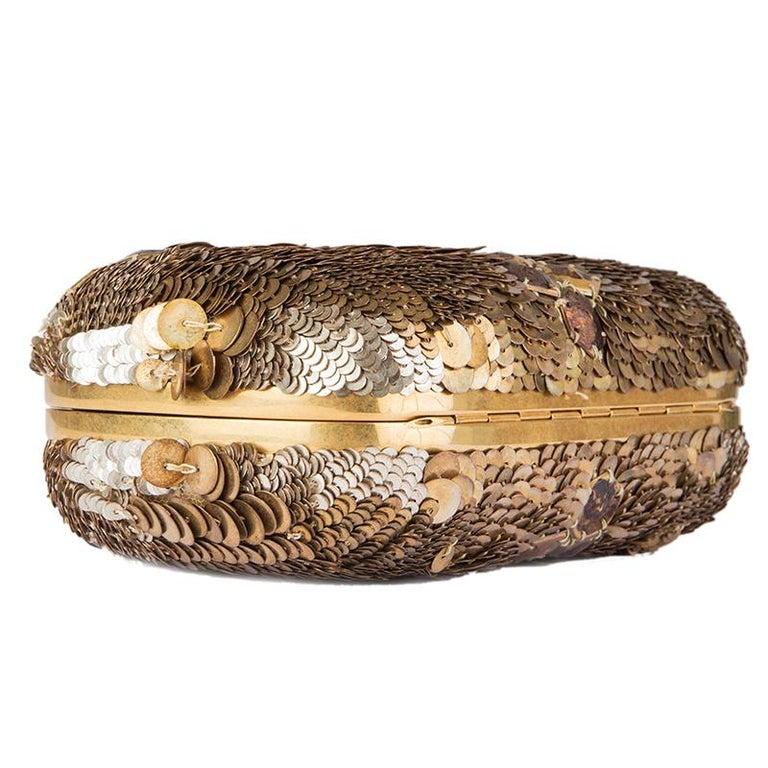Women's ALEXANDER MCQUEEN gold SEQUIN JAW SKULL Box Clutch Bag For Sale