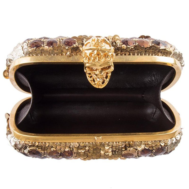 ALEXANDER MCQUEEN gold SEQUIN JAW SKULL Box Clutch Bag For Sale 1