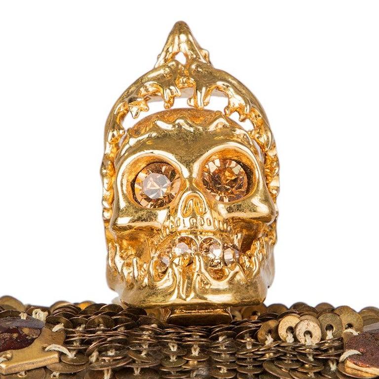 ALEXANDER MCQUEEN gold SEQUIN JAW SKULL Box Clutch Bag For Sale 2