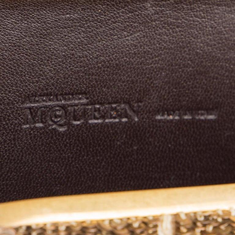 ALEXANDER MCQUEEN gold SEQUIN JAW SKULL Box Clutch Bag For Sale 4