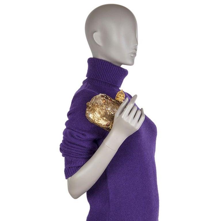 ALEXANDER MCQUEEN gold SEQUIN JAW SKULL Box Clutch Bag For Sale 5