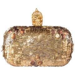 ALEXANDER MCQUEEN gold SEQUIN JAW SKULL Box Clutch Bag