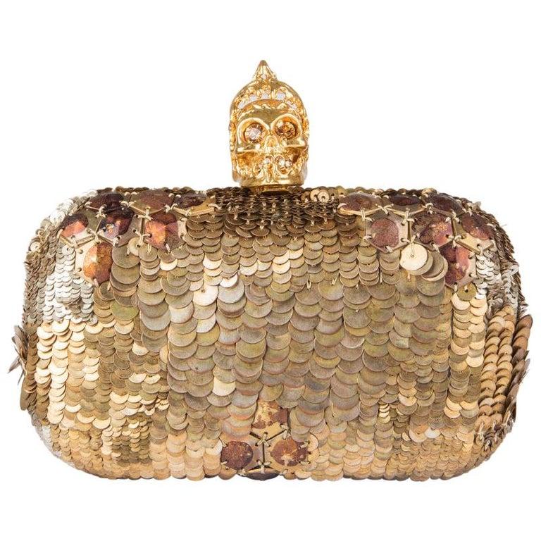 ALEXANDER MCQUEEN gold SEQUIN JAW SKULL Box Clutch Bag For Sale