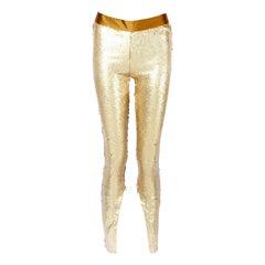 Alexander McQueen Gold Sequin Leggings 2008