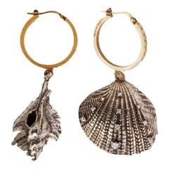 ALEXANDER MCQUEEN gold & silver-tone brass SHELL HOOP Earrings