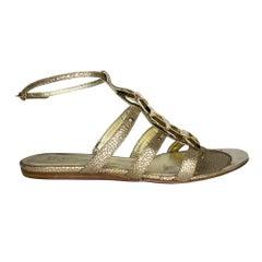 Alexander McQueen Gold Snake Embossed Leather Sandal (39.5 EU) Women's