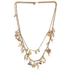 ALEXANDER MCQUEEN gold-tone brass FLOWER & SKULL Chain Necklace