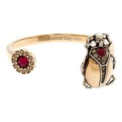 Alexander McQueen Gold Tone Crystal Embellished Beetle Cuff Bracelet S