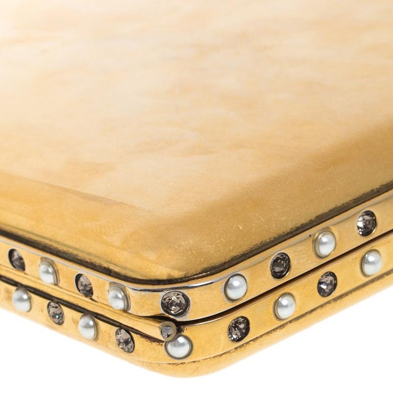 Alexander McQueen Gold Tone Metal Small Jewelled Case For Sale 6