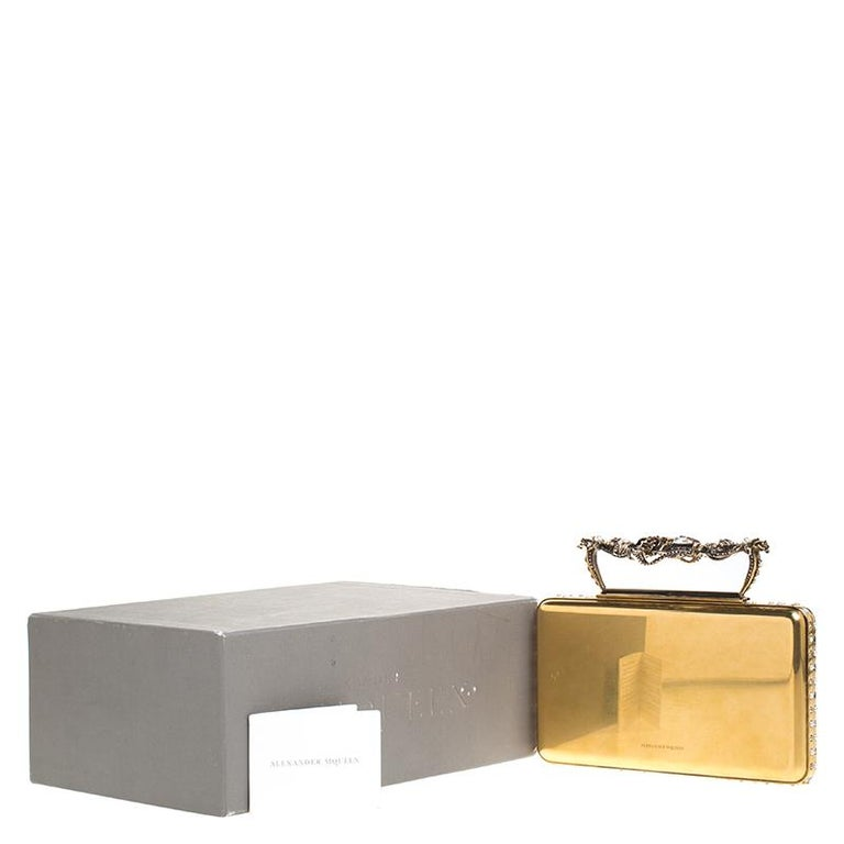 Alexander McQueen Gold Tone Metal Small Jewelled Case For Sale 7