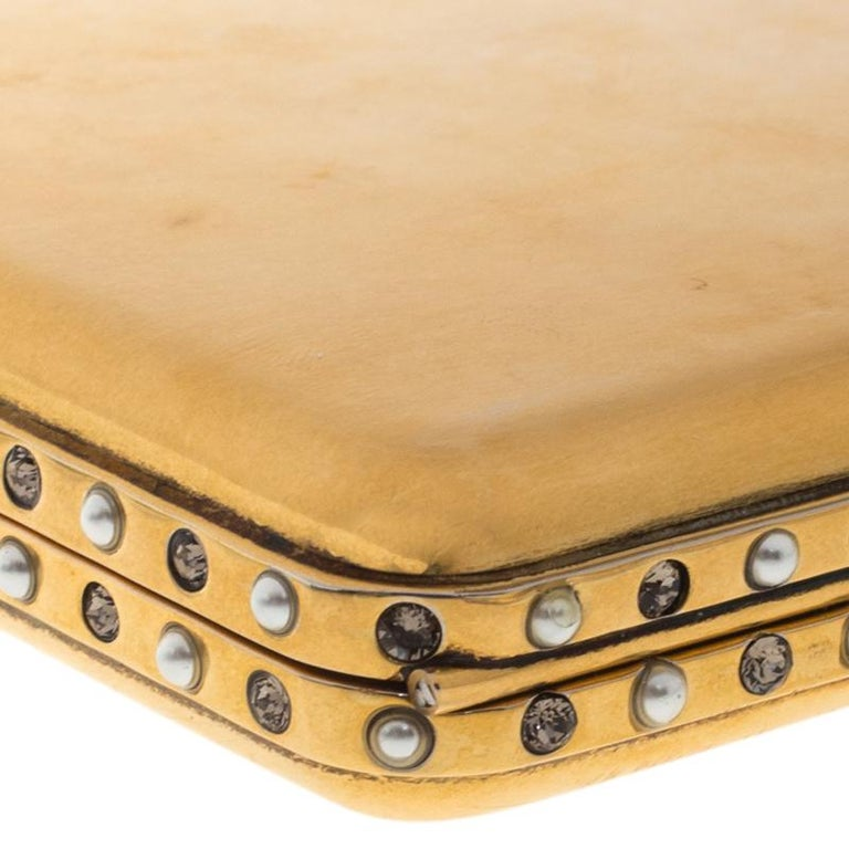 Women's Alexander McQueen Gold Tone Metal Small Jewelled Case For Sale