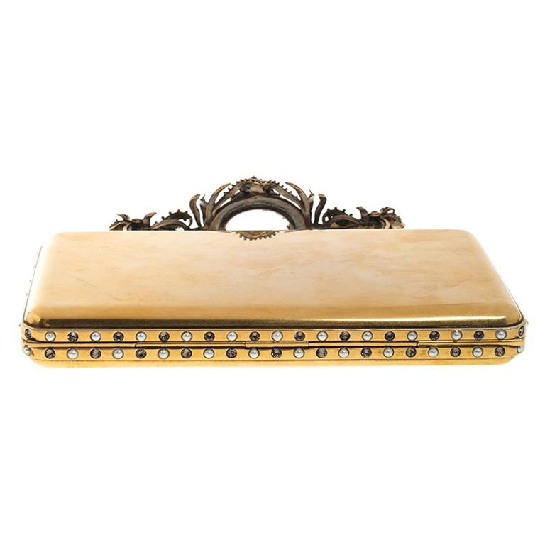 Alexander McQueen Gold Tone Metal Small Jewelled Case For Sale 1