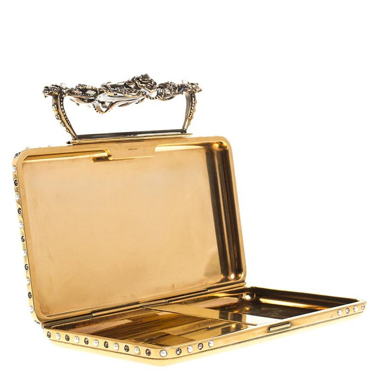 Alexander McQueen Gold Tone Metal Small Jewelled Case For Sale 5