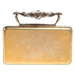 Alexander McQueen Gold Tone Metal Small Jewelled Case