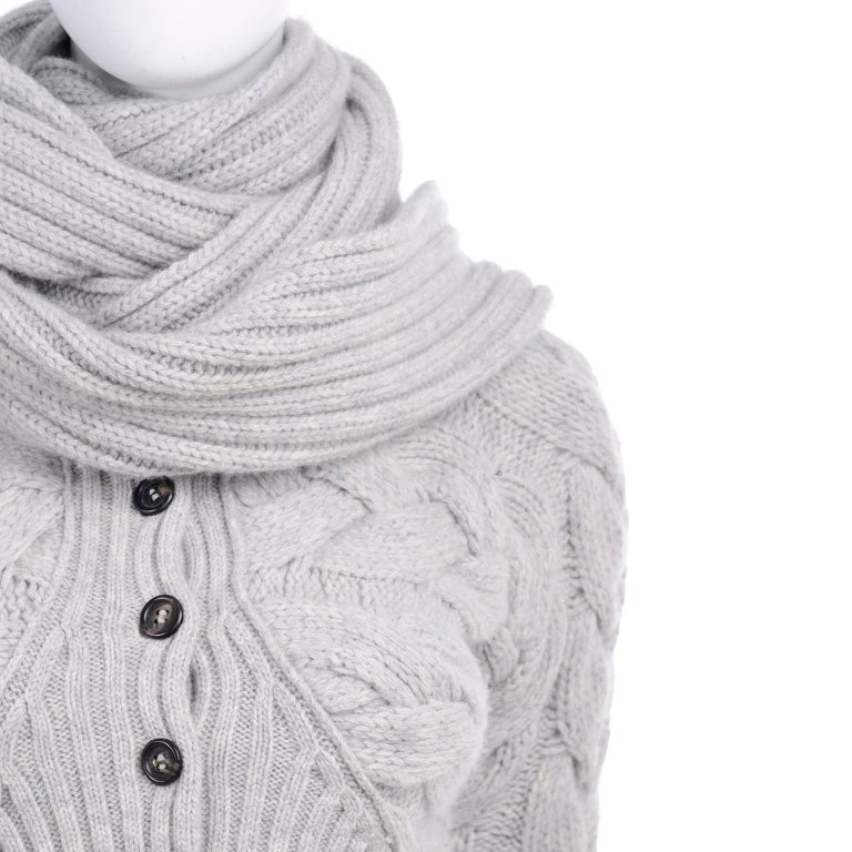 Alexander McQueen Gray Wool Cardigan Cable Knit Sweater With Attached Scarf For Sale 6