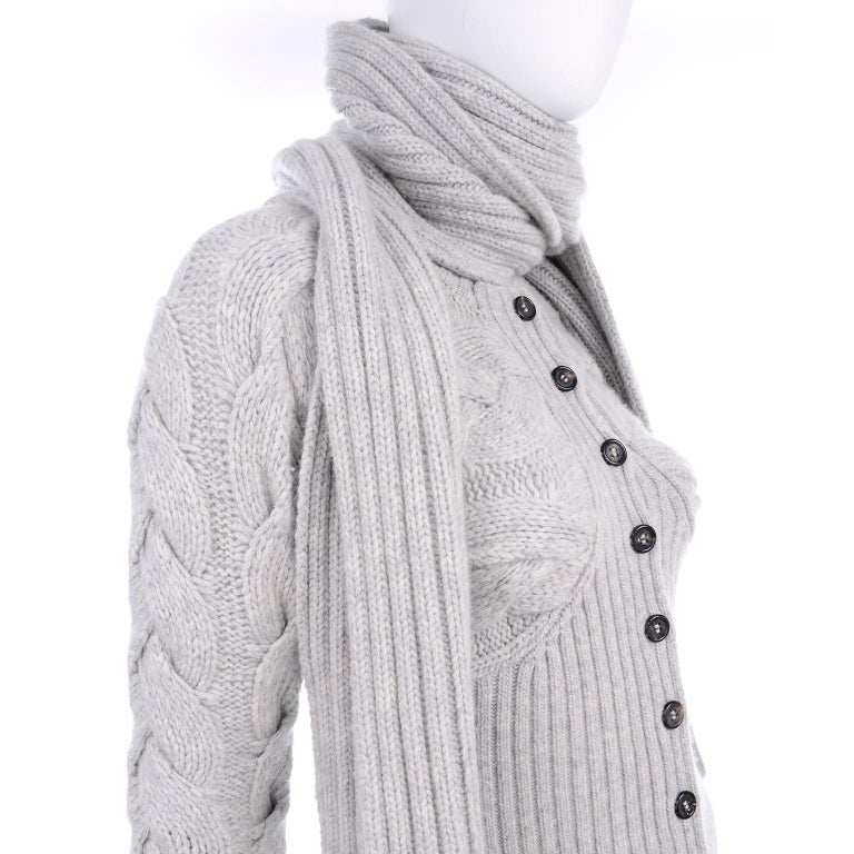Alexander McQueen Gray Wool Cardigan Cable Knit Sweater With Attached Scarf For Sale 9