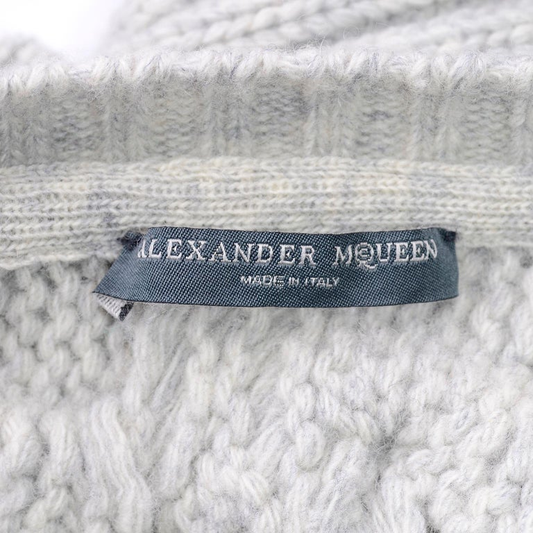 Alexander McQueen Gray Wool Cardigan Cable Knit Sweater With Attached Scarf For Sale 11