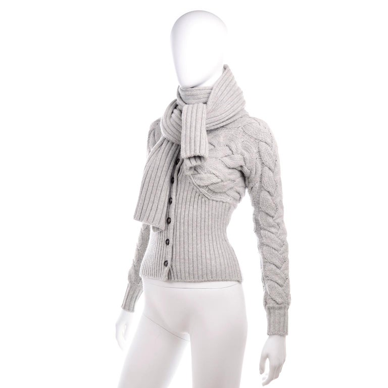 Alexander McQueen Gray Wool Cardigan Cable Knit Sweater With Attached Scarf In Excellent Condition For Sale In Portland, OR