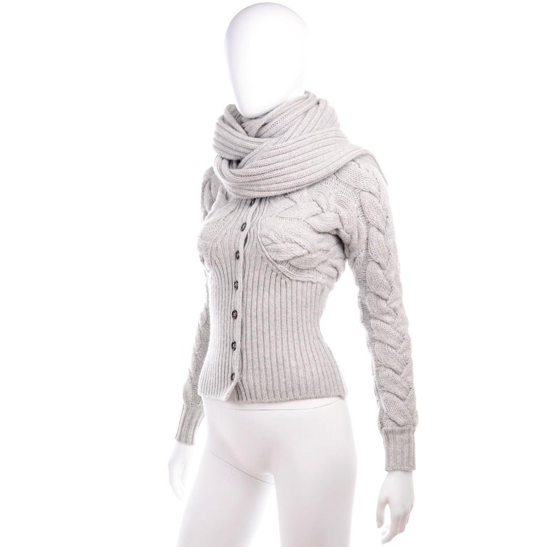 Women's Alexander McQueen Gray Wool Cardigan Cable Knit Sweater With Attached Scarf For Sale