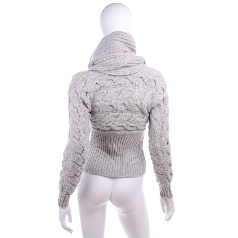 Alexander McQueen Gray Wool Cardigan Cable Knit Sweater With Attached Scarf For Sale 1