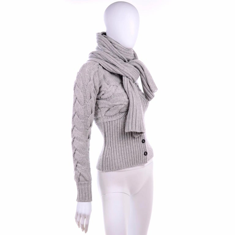Alexander McQueen Gray Wool Cardigan Cable Knit Sweater With Attached Scarf For Sale 2