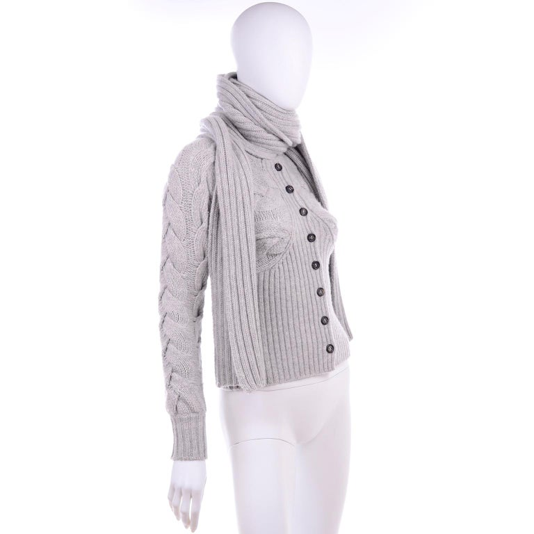 Alexander McQueen Gray Wool Cardigan Cable Knit Sweater With Attached Scarf For Sale 3
