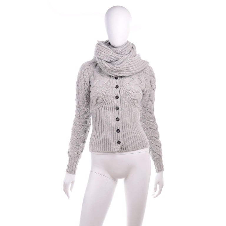 Alexander McQueen Gray Wool Cardigan Cable Knit Sweater With Attached Scarf For Sale 4