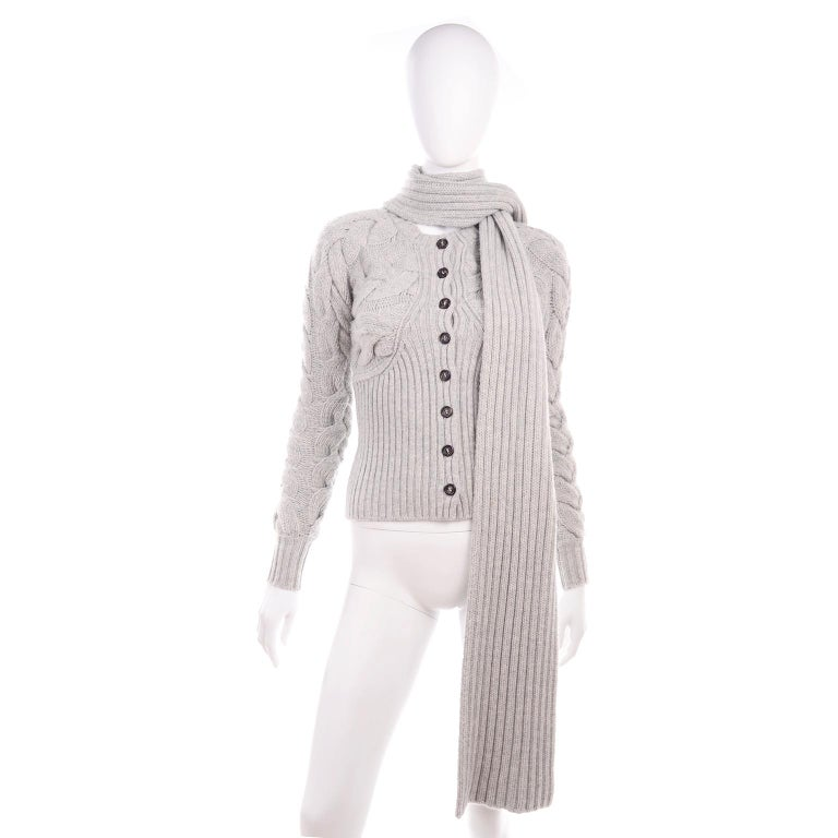 Alexander McQueen Gray Wool Cardigan Cable Knit Sweater With Attached Scarf For Sale 5
