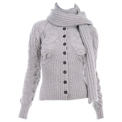 Alexander McQueen Gray Wool Cardigan Cable Knit Sweater With Attached Scarf