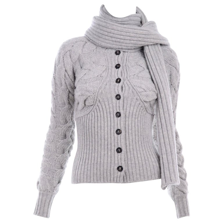 Alexander McQueen Gray Wool Cardigan Cable Knit Sweater With Attached Scarf For Sale