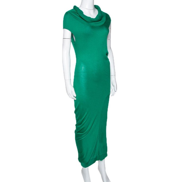 Alexander McQueen Green Knit Turtle Neck Fitted Dress L In Good Condition For Sale In Dubai, Al Qouz 2
