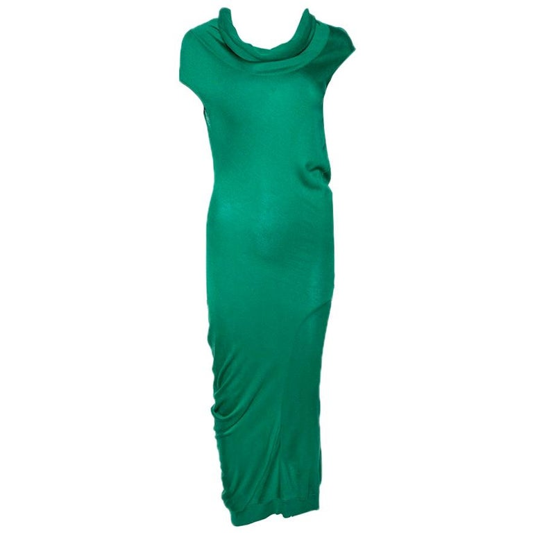 Alexander McQueen Green Knit Turtle Neck Fitted Dress L For Sale