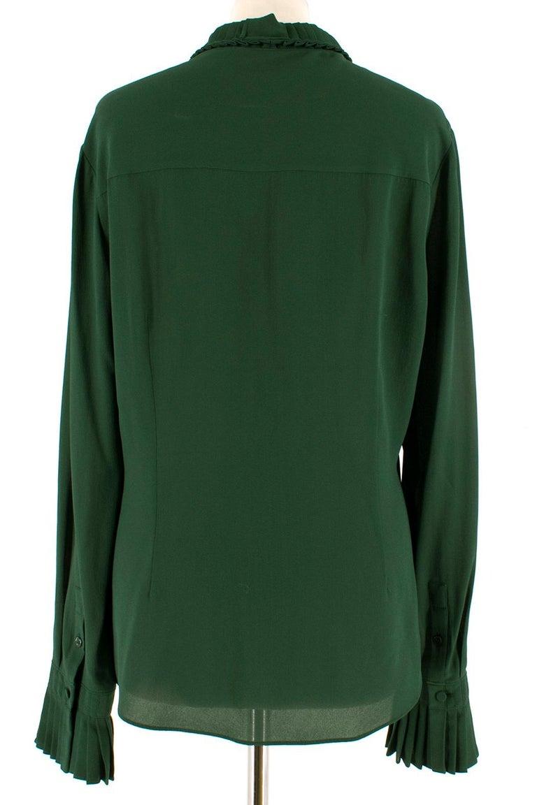 Black Alexander McQueen Green Pleat Collar Silk BlouseItaly 44 For Sale