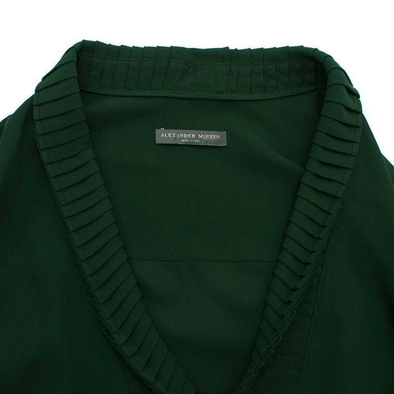 Women's Alexander McQueen Green Pleat Collar Silk BlouseItaly 44 For Sale
