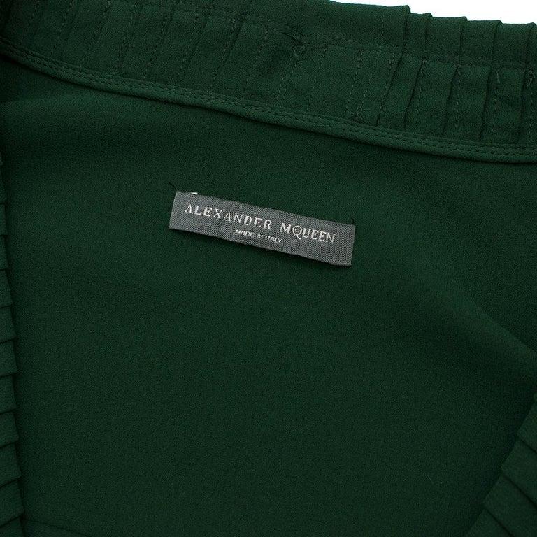 Alexander McQueen Green Pleat Collar Silk BlouseItaly 44 For Sale 1