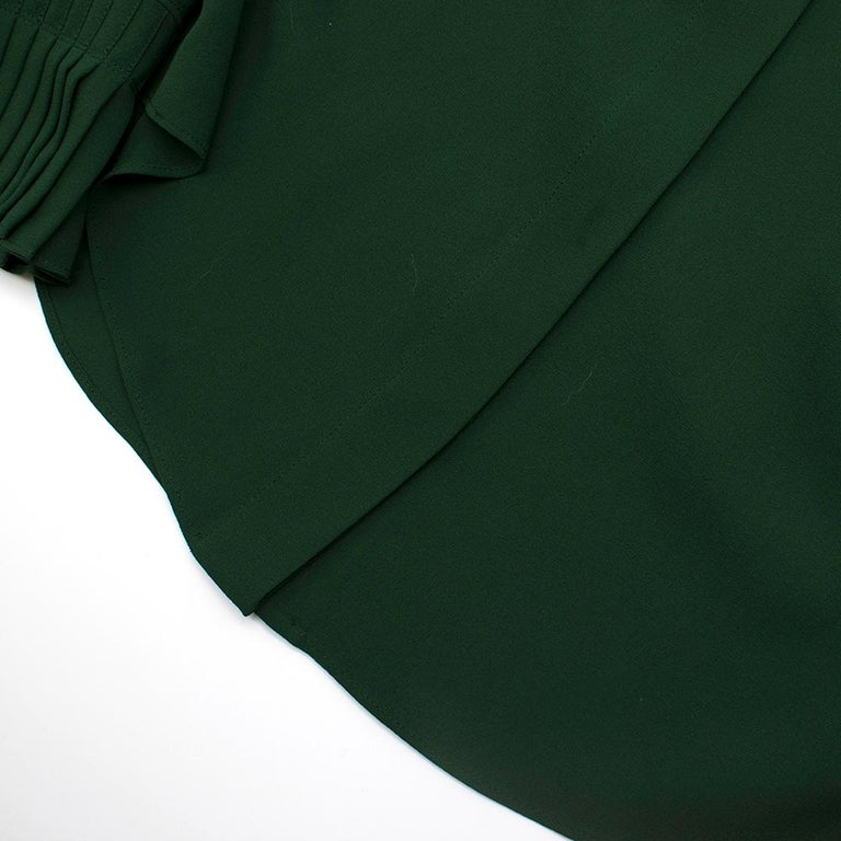 Alexander McQueen Green Pleat Collar Silk BlouseItaly 44 For Sale 2