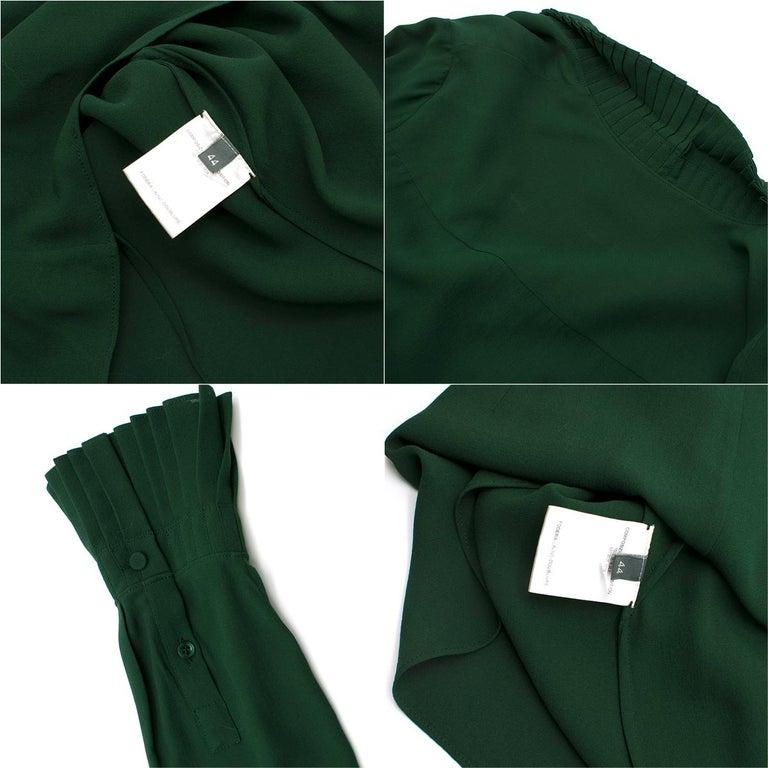 Alexander McQueen Green Pleat Collar Silk BlouseItaly 44 For Sale 3