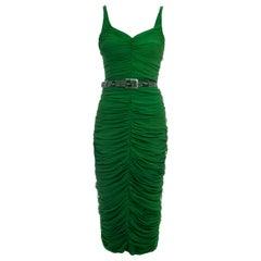 Alexander McQueen green pleated silk chiffon wiggle dress, fw 2005