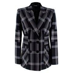 Alexander McQueen Grey and Black Checked Blazer - Size US 4