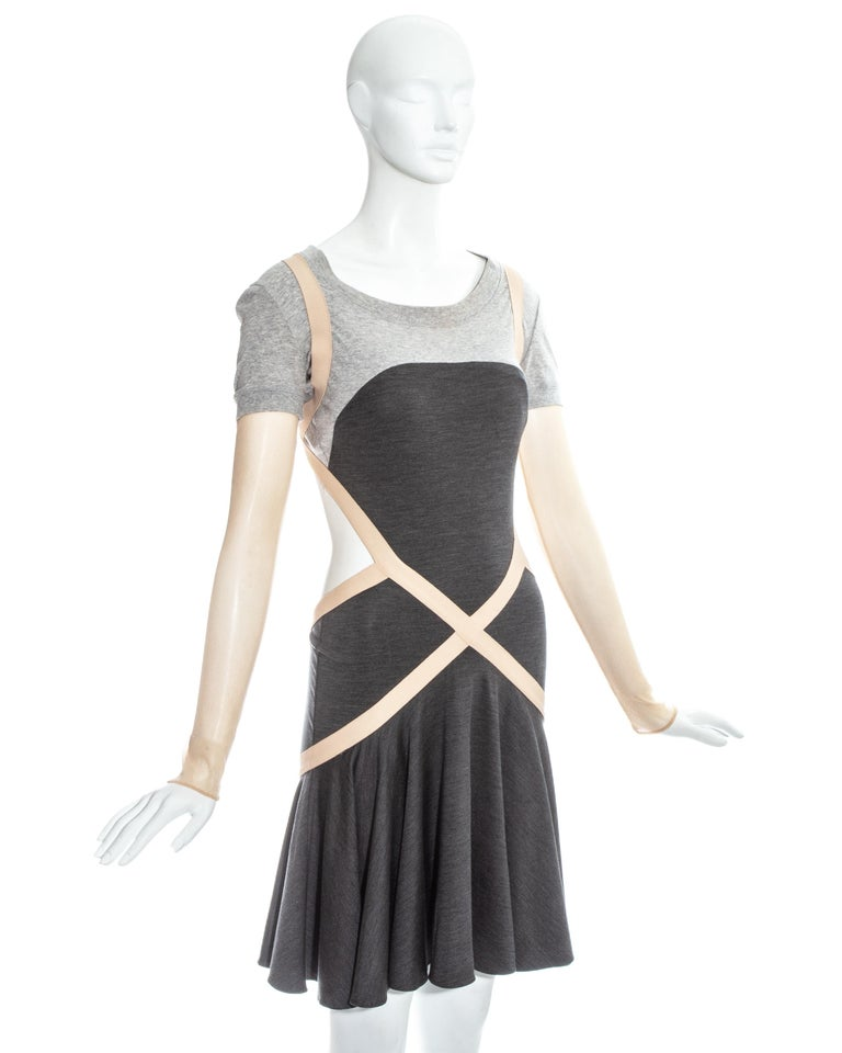Black Alexander McQueen grey jersey dress with cut open back and mesh sleeves, ss 2004 For Sale