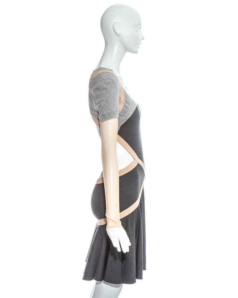 Alexander McQueen grey jersey dress with cut open back and mesh sleeves, ss 2004 In Good Condition For Sale In London, GB