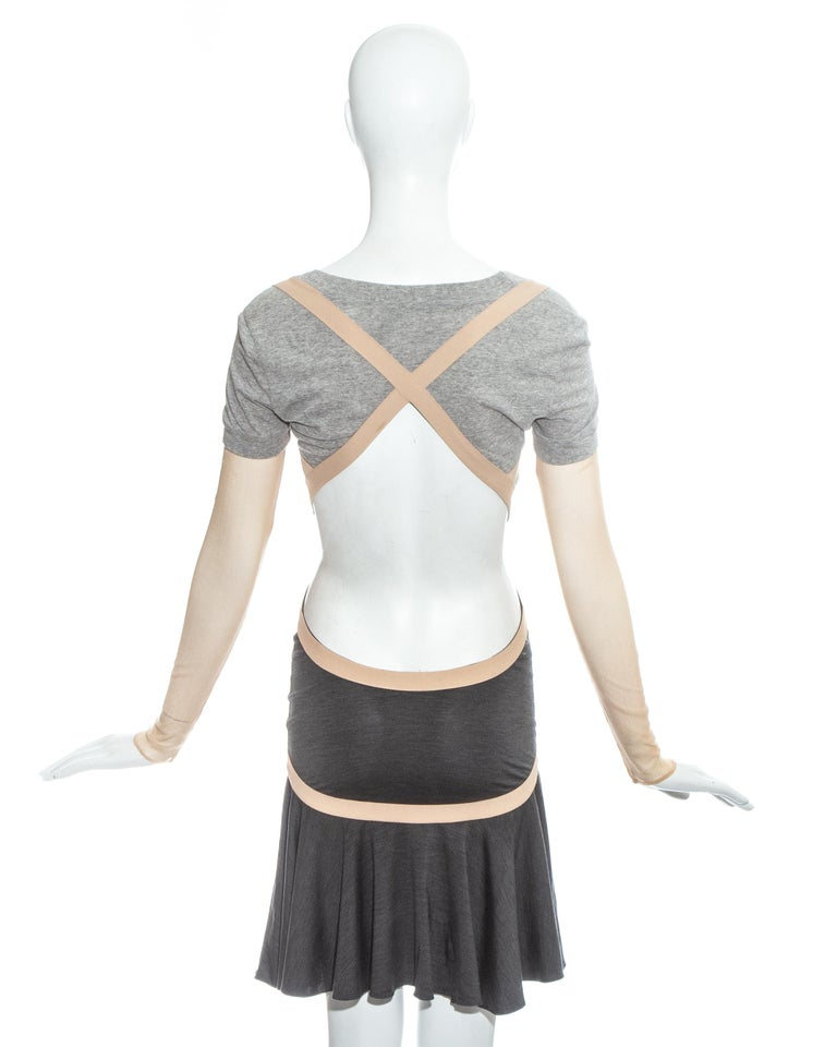 Women's Alexander McQueen grey jersey dress with cut open back and mesh sleeves, ss 2004 For Sale