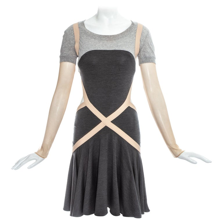 Alexander McQueen grey jersey dress with cut open back and mesh sleeves, ss 2004 For Sale