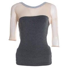 Alexander McQueen Grey Jersey Mesh Insert Cropped T-Shirt M