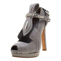 Alexander McQueen Grey Leather T Strap Peep Toe Platform Pumps Size 36