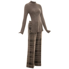 Alexander McQueen grey mohair knitted sweater and pant suit, fw 1999