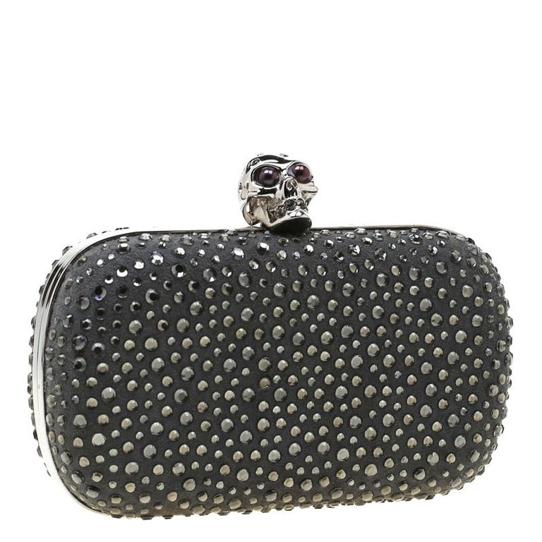 Women's Alexander McQueen Grey Nubuck Leather and Crystal Embellished Skull Clutch For Sale